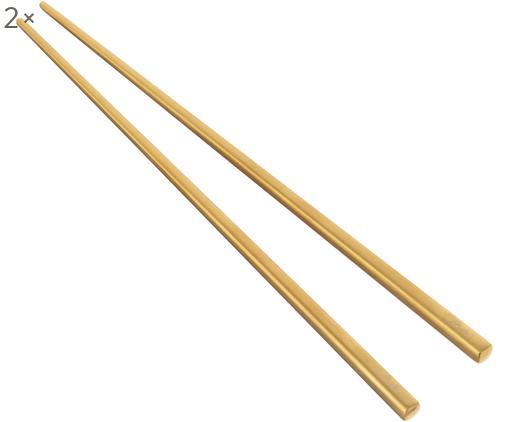 Set 6 bacchette dorate in acciaio inossidabile Chop, Scaffale: terracotta, glasiert, Dorato, nero, Lung. 26 cm