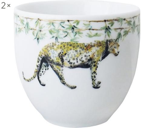 Tazas Panther, 2uds., Porcelana, Blanco, amarillo, marrón, verde, negro, Ø 8 x Al 7 cm
