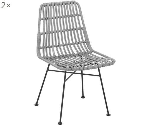 Polyrattan-Stühle Costa, 2 Stück, Sitzfläche: Polyethylen-Geflecht, Gestell: Metall, pulverbeschichtet, Grau, Beine Schwarz, B 47 x T 62 cm