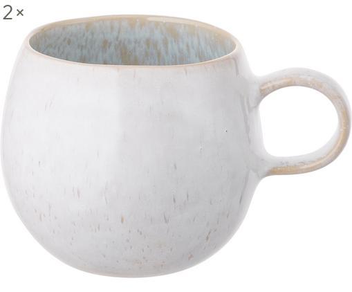 Handbemalte Teetassen Areia, 2 Stück, Steingut, Hellblau, Gebrochenes Weiß, Hellbeige, Ø 9 x H 10 cm