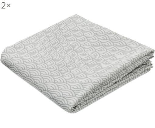 Mulltücher Wave aus Bio-Baumwolle, 2 Stück, Bio-Baumwolle, GOTS-zertifiziert, Grau, Weiß, 70 x 70 cm