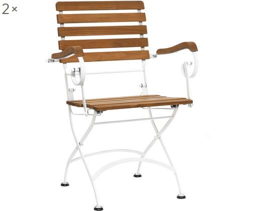 Krzesło składane z podłokietnikami Parklife, 2 szt., Stelaż: metal ocynkowany, malowan, Biały, drewno akacjowe, S 59 x G 52 cm