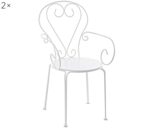 Krzesło ogrodowe z podłokietnikami Etienne, 2 szt., Stal, malowana proszkowo, odporna na czynniki atmosferyczne, Biały, S 49 x  W 89 cm
