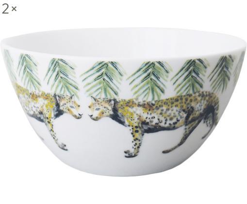 Cuencos Panther, 2uds., Porcelana, Blanco, amarillo, marrón, verde, negro, Ø 14 cm