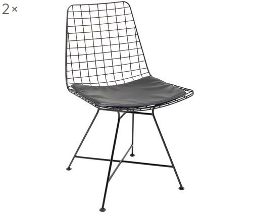Stühle Grid, 2 Stück, Gestell: Metall, pulverbeschichtet, Bezug: Polyester (Kunstleder), Schwarz, B 48 x T 54 cm
