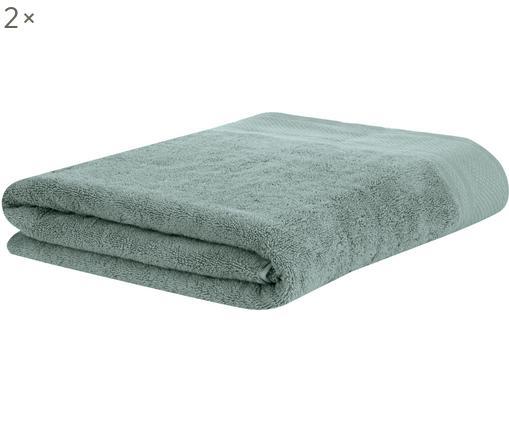 Toallas de invitado Premium Terry, 2uds., 100%algodón Gramaje superior 600g/m², Verde salvia, An 30 x L 30 cm