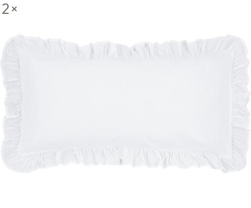 Poszewka na poduszkę z perkalu Florence, 2 szt., Biały, S 40 x D 80 cm