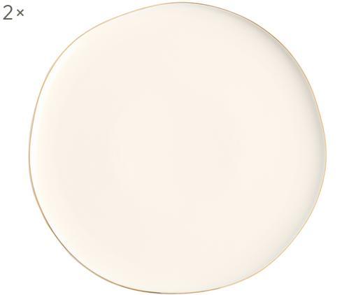 Platos llanos Pacifica, 2uds., Porcelana, Blanco, Borde: dorado, Ø 26 cm