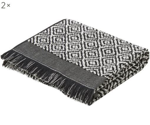 Asciugamano con motivo a rombi Morocco, Cotone, qualità media, 500 g/m², Nero, bianco, Asciugamano