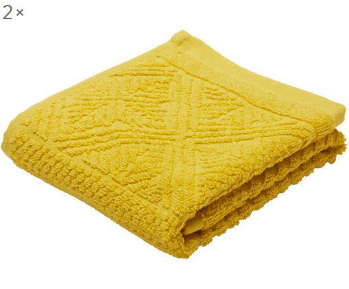 Asciugamano per ospiti Retro, 2 pz., Giallo senape, Larg. 30 x Lung. 50 cm