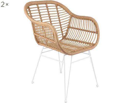 Krzesło z podłokietnikami z polirattanu Costa, 2 szt., Stelaż: metal malowany proszkowo, Siedzisko: jasny brązowy Stelaż: biały, matowy, S 60 x G 58 cm