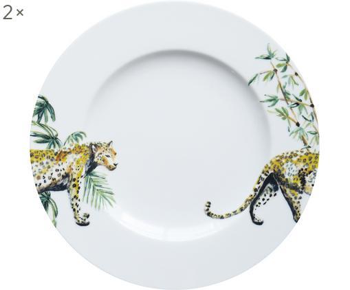 Platos postre Panther, 2uds., Porcelana, Blanco, amarillo, marrón, verde, negro, Ø 21 cm