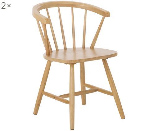 Krzesło z podłokietnikami z drewna naturalnego w stylu windsor Megan, 2 szt., Drewno dębowe
