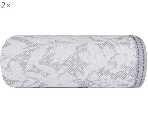 Asciugamano con motivo floreale Matiss, Cotone, qualità media 550g/m², Bianco, grigio argento, Asciugamano per ospiti