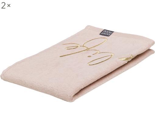 Asciugamano per ospiti Enjoy Life, 2 pz., Cotone, qualità media, 450g/m², Rosa chiaro, Larg. 30 x Lung. 50 cm