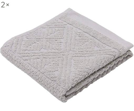 Asciugamano per ospiti Retro, 2 pz., Grigio chiaro, Larg. 30 x Lung. 50 cm