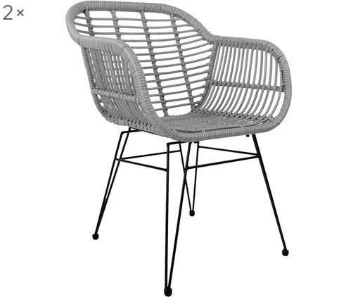 Chaises à accoudoirs en polyrotin Costa, 2pièces, Assise: gris Structure: noir