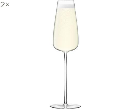 Mundgeblasene Sektgläser Wine Culture aus dünnem Glas, 2er-Set, Glas, Transparent, Ø 11 x H 26 cm