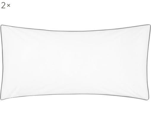 Poszewka na poduszkę z perkalu z lamówką Daria, 2 szt., Biały Wykończenie brzegów: ciemny szary, S 40 x D 80 cm