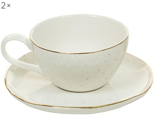 Ensemble de tasses faites à la main Bol, 4élém., Blanc crème
