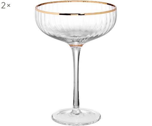 Große Champagnerschalen Golden Twenties mit Goldrand, 2er-Set, Glas, Transparent, Goldfarben, Ø 13 x H 19 cm