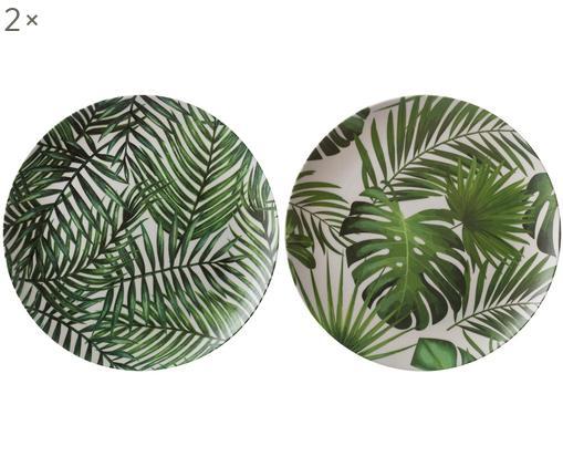 Set piatti piani in bambù Tropical, 4 pz., 55% fibra di bambù, 25%  amido di mais, 15% melamina, Verde, bianco, Ø 25 cm