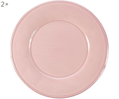 Assiettes plates en rose Constance, 2pièces, Rose