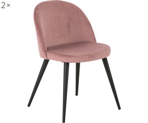Krzesło tapicerowane Amy, 2 szt., Tapicerka: aksamit (100% poliester), Tapicerka: pianka, 20 kg/m³, Nogi: metal malowany proszkowo, Blady różowy, S 47 x G 55 cm