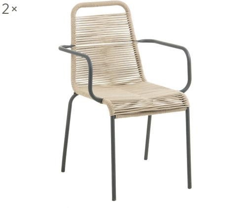 Garten-Armlehnstühle Lambton mit Kunststoff-Geflecht, 2 Stück, Sitzfläche: Polyethylen-Geflecht, Schwarz, Hellbraun, B 56 x T 59 cm