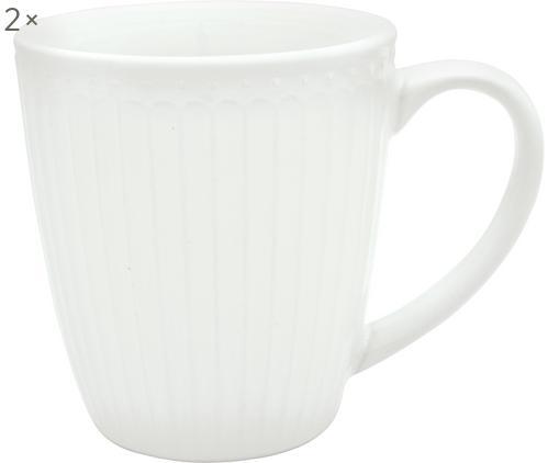 Tassen Alice, 2 Stück, Porzellan, Weiß, Ø 10 x H 10 cm
