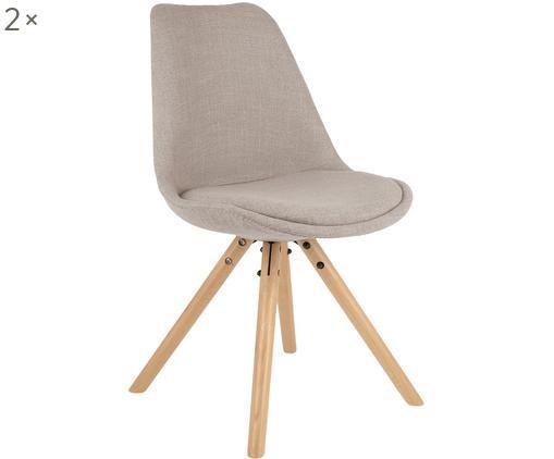 Gestoffeerde stoelen Maxi, 2 stuks, Zitvlak: kunststof, Bekleding: polyester, Poten: beukenhout, Bekleding: beigegrijs. Poten: beukenhoutkleurig, B 46 x D 54 cm