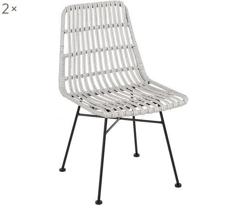 Polyrattan-Stühle Costa, 2 Stück, Sitzfläche: Polyethylen-Geflecht, Gestell: Metall, pulverbeschichtet, Hellgrau, B 47 x T 62 cm