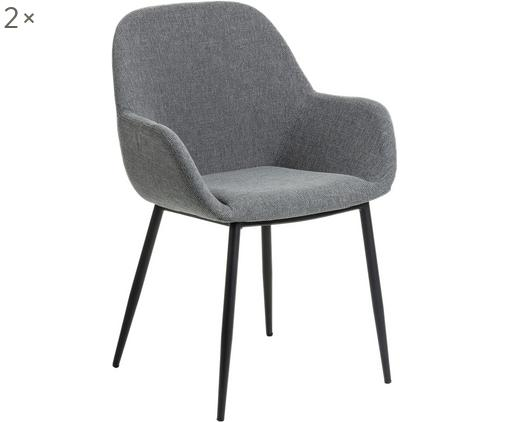 Sedia con braccioli Kona, 2 pz., Rivestimento: poliestere 50.000 cicli d, Gambe: metallo verniciato, Grigio, nero, Larg. 59 x Prof. 52 cm