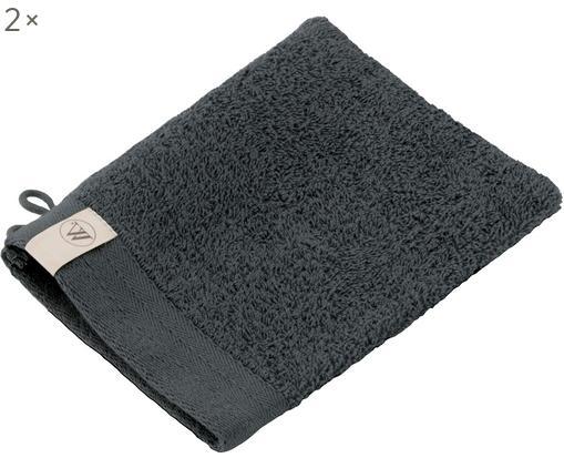 Guanti per il lavaggio Soft Cotton, 2 pz., Cotone, qualità media, 550g/m², Antracite, Larg. 16 x Lung. 21 cm