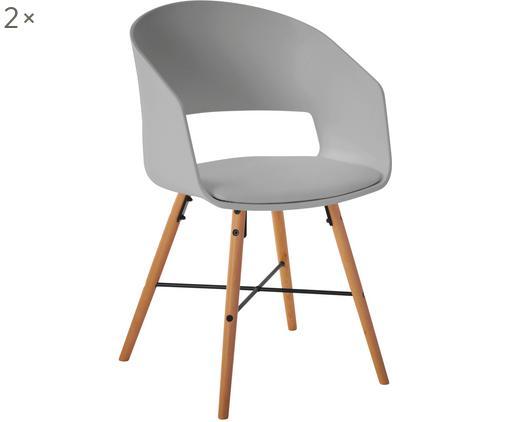 Armlehnstühle Luna mit gepolsteter Sitzfläche, 2 Stück, Beine: Buchenholz, lackiert, Grau, B 52 x T 52 cm