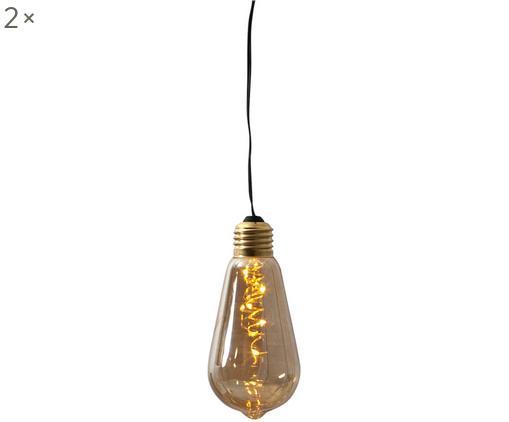Dekoleuchten Glow mit Timer, 2 Stück, Lampenschirm: Glas, getönt, Bernsteinfarben, Ø 6 x H 13 cm