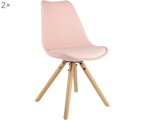 Krzesło z siedziskiem ze sztucznej skóry Max, 2 szt., Nogi: drewno bukowe, Siedzisko: blady różowy Nogi: drewno bukowe, S 46 x G 54 cm