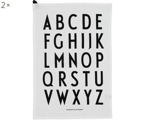 Canovaccio con lettere di design Classic 2 pz, Cotone, Bianco, nero, Larg. 40 x Lung. 60 cm