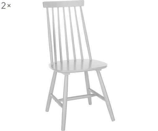 Holzstühle Milas, 2 Stück, Kautschuckholz, lackiert, Hellgrau, 52 x 93 cm