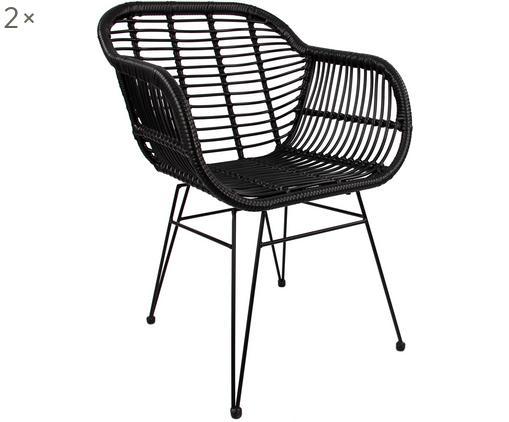 Polyrattan-Armlehnstühle Costa, 2 Stück, Sitzfläche: Polyethylen-Geflecht, Gestell: Metall, pulverbeschichtet, Schwarz, Beine Schwarz, B 60 x T 58 cm