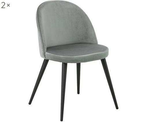 Krzesło tapicerowane z aksamitu Amy, 2 szt., Tapicerka: aksamit (100% poliester), Nogi: metal malowany proszkowo, Szary, S 47 x G 55 cm