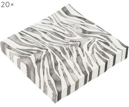 Tovagliolo di carta Zeewild, 20 pz., Carta, Grigio, bianco, Larg. 13 x Lung. 13 cm
