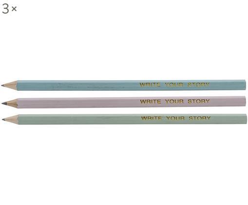 Set matite Your Story, 9 pz., Legno di tiglio, Azzurro, rosa,  verde menta, Lung. 17 cm