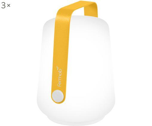 Mobile LED Außenleuchten Balad, 3 Stück, Lampenschirm: Polyethylen, Griff: Aluminium, lackiert, Gelb, Ø 10 x H 13 cm