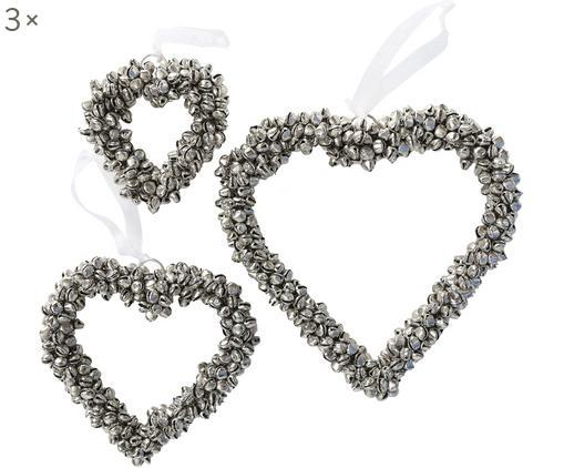 Set cuori decorativi con campanelini Halina 3 pz, Metallo, bianco, Diverse dimensioni