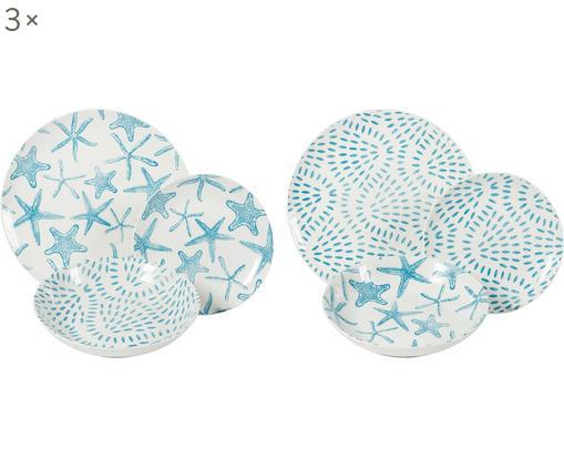 Set 18 piatti per 6 persone Playa, Porcellana, Blu,bianco, Diverse dimensioni