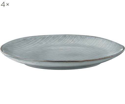 Platos artesanales de postre Nordic Sea, 4uds., Gres, Tonos de gris y azul, Ø 20 x Al 3 cm