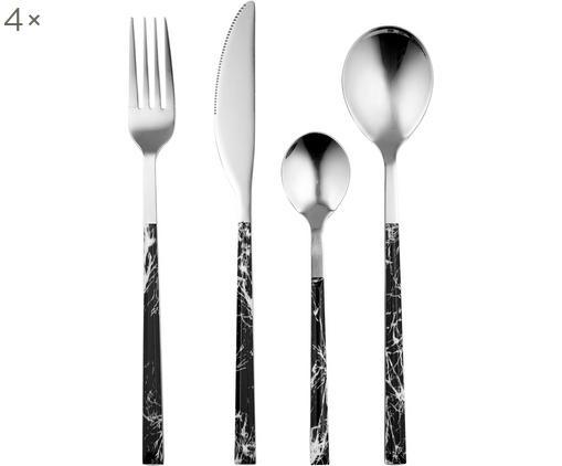 Ménagère avec manches en marbre Oslo, 4 personnes (16élém.), Noir, marbré, acier inoxydable