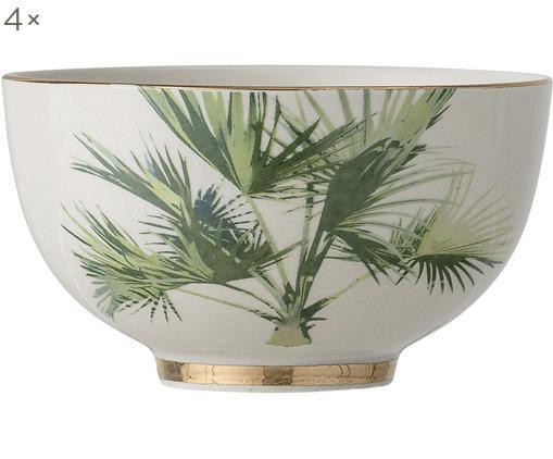 Ciotola con motivo tropicale Aruba 4 pz, Terracotta, Bianco crema, verde, Ø 12 x Alt. 7 cm