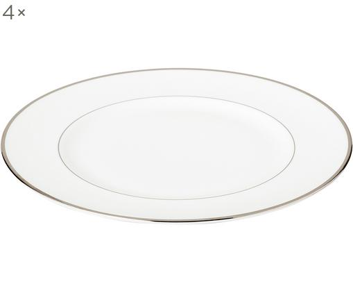 Piatti piani Signet Platinum, 4 pz., Porcellana Fine Bone China, Bianco, argento, Ø 27 cm